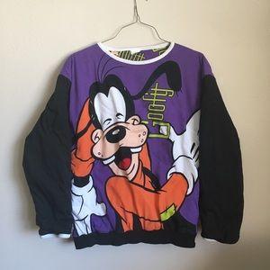 Vtg Mickey Inc Disney Goofy Reversible Sweatshirt